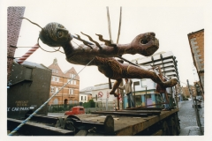 Installing the 'Wounded King' sculpture